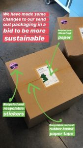 Image of Indie Bay packaging showing use of paper tape, recyclable stickers, and recycled label paper, improving sustainability