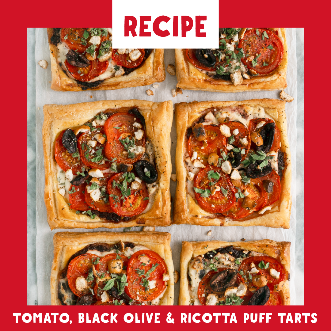 Puffed Pastry Tarts: Tomato, Ricotta, and Olive
